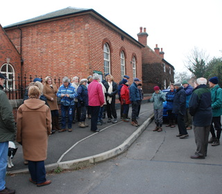 Meeting at the Methodist Hall to begin the walk.