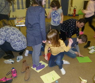 """One Direction"" holiday club - teamwork - making our footprints"
