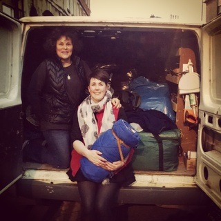 Justina and Kayleigh ready with another van load