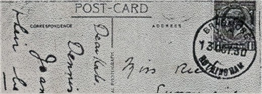 Post mark from the Bradmore Post Office (No 17) 1930