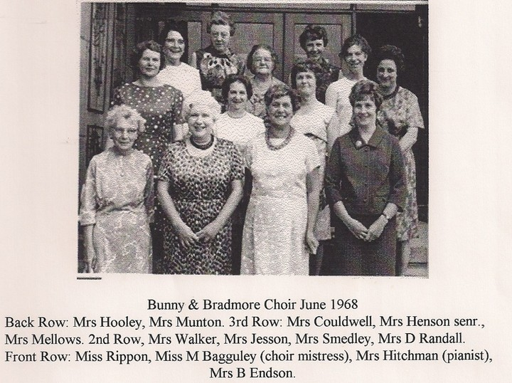 Bradmore and Bunny Choir 1968