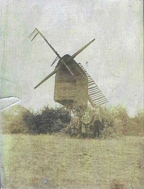 Windmill c 1900 - Hutchinson Boys in front.  The windmill was disused by 1900 and was blown up in 1910