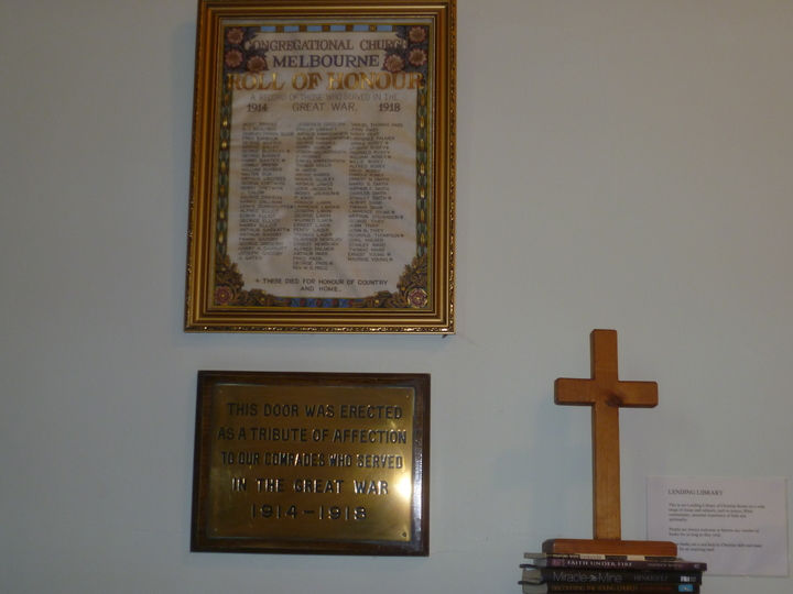 The commemorative 1914/18 plaque and Roll of Honour