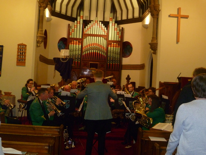 Newmount Brass Band leading evening worship - March 2016