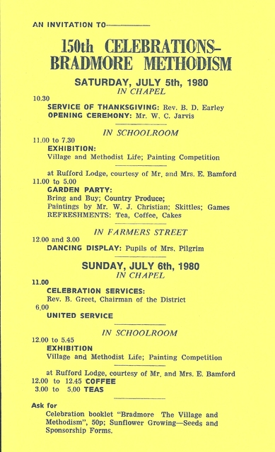 Itinerary for 150th anniversary celebrations
