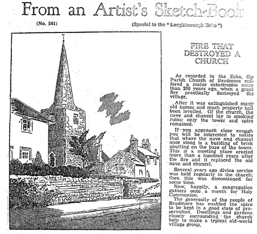 Bradmore Fire that destroyed a church