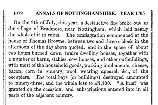 Bradmore Fire annals of Nottinghamshire