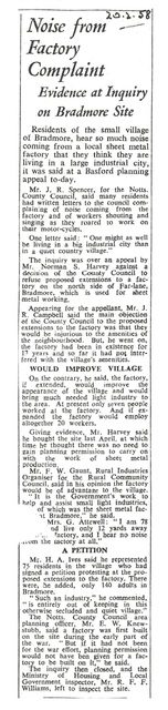 Bradmore Factory 1958