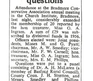 Bradmore Tories 1958