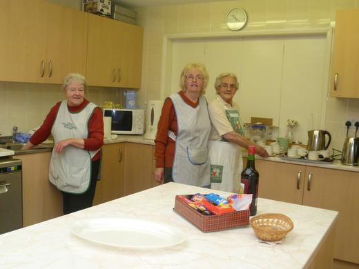 Margaret M, Margaret B, & Mavis serving teas & coffees