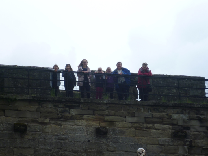 Some of the group brave the ramparts