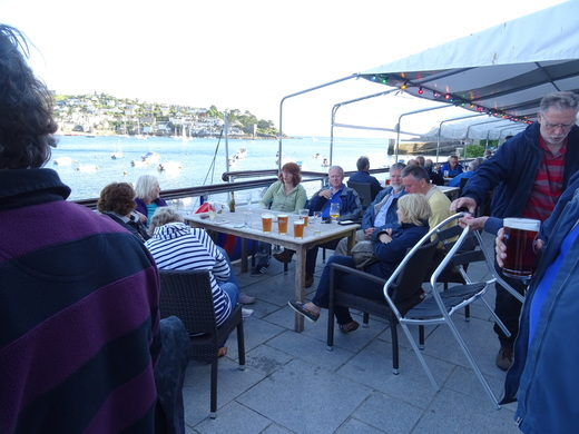 The crews from Bertie and Liver Bird taking a drink on the terrace at the RFYC. (Tanner)