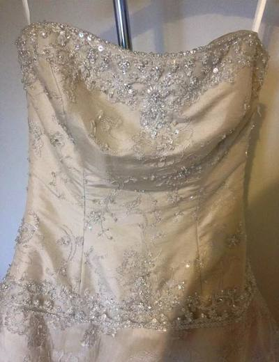 Mori Lee Gold Lace Gown With Pick Ups and Train Size 8/10 (New)