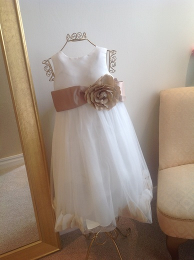 BHS Ivory & Mocha Flower Girl Dress with Petals size 4 (preloved)