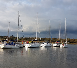 Day 3 - Boats congregating at GINS on The Beaulieu River
