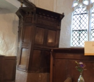 """The extremely old & """"wonky"""" pulpit"""