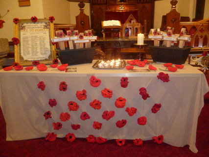 The names of servicemen who were connected to this Church and who lost their lives in the 1914/18 conflict were remembered