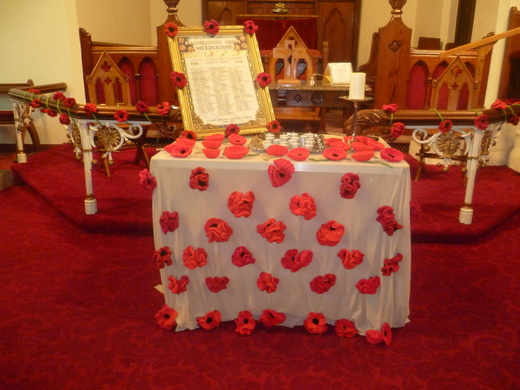 "The Melbourne ""Roll of Honour"" and lit candles for all who were attached to this Church"