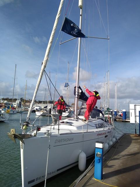 Flying the flag. Shepherds Marina, Cowes. D'Artagnan.