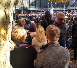 Guildhall Square. A very large turnout for the Armistice day centenary parade.