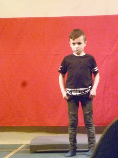 Levi prepares to start his gymnastic display