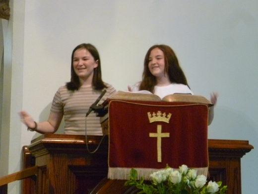 The older girls joined in with the singing and actions.